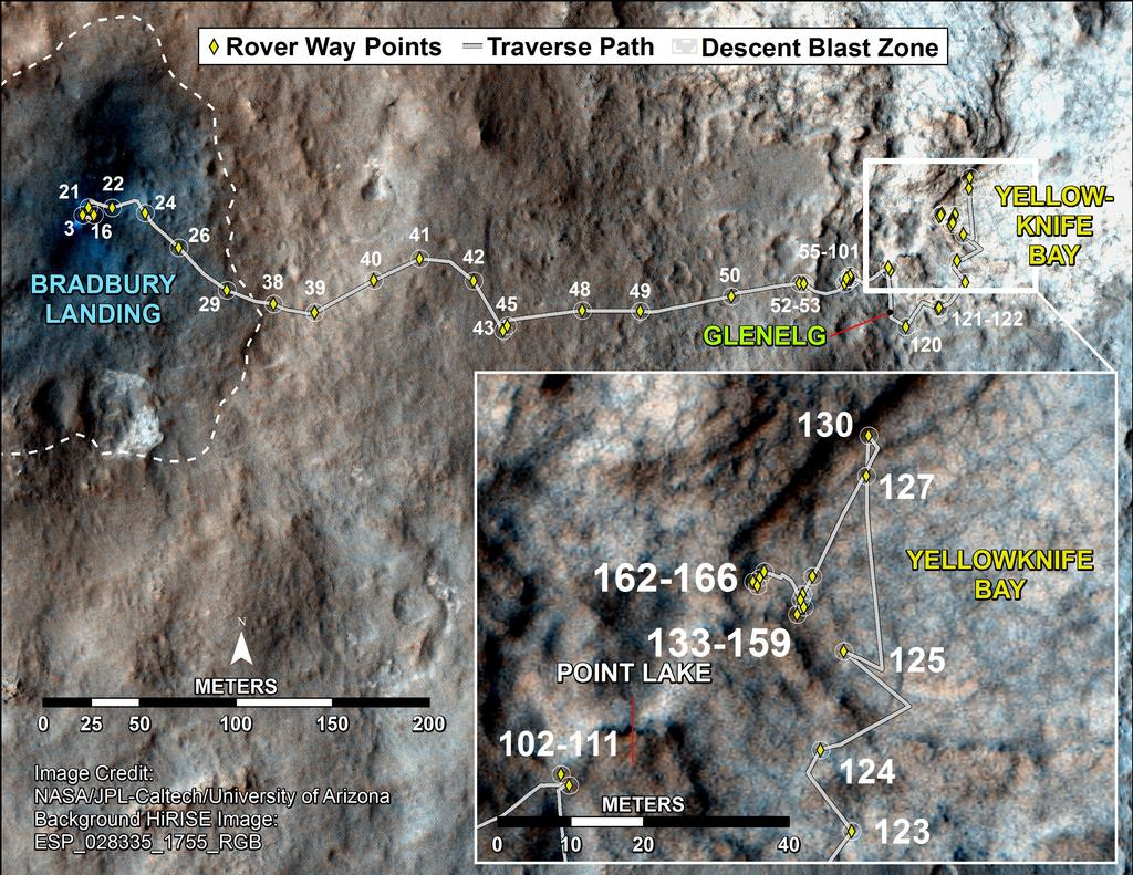 Curiosity's Traverse Map Through Sol 166
