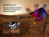 This image shows the SHERLOC instrument for the Mars 2020 rover superimposed on a Mars image.