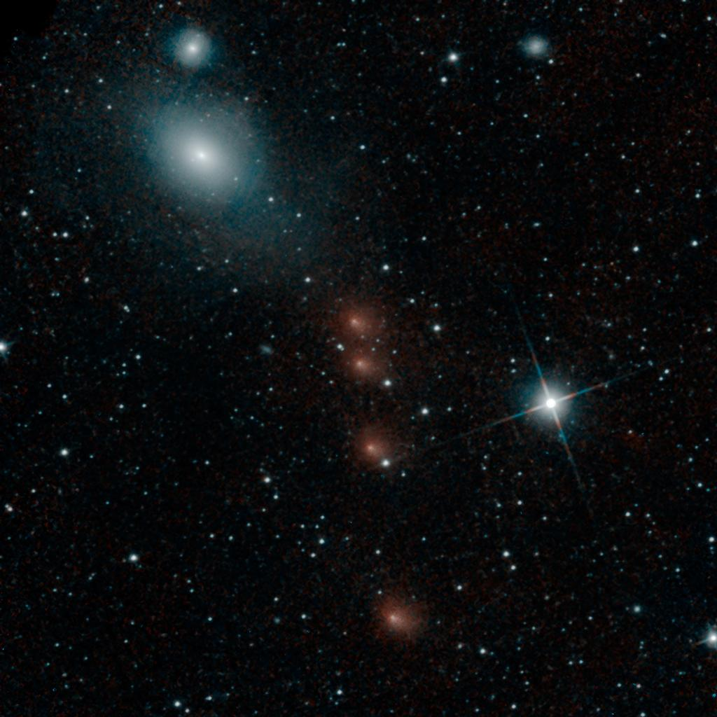 NASA's NEOWISE mission detected comet C/2013 A1 Siding Spring on July 28, 2014, less than three months before this comet's close flyby of Mars on Oct. 19. This merging of multiple images presents the comet in four different positions relative to the background stars.