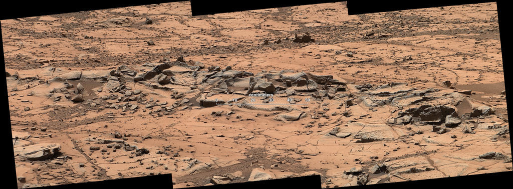 Erosion Resistance at 'Pink Cliffs' at Base of Martian Mount Sharp (Labeled)