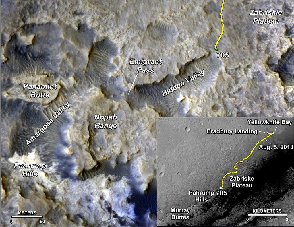 The main map here shows the assortment of landforms near the location of NASA's Curiosity Mars rover as the rover's second anniversary of landing on Mars nears.