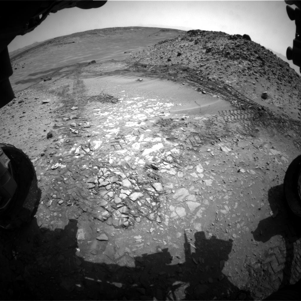 "The pale rocks in the foreground of this fisheye image from NASA's Curiosity Mars rover include the ""Bonanza King"" target under consideration to become the fourth rock drilled by the Mars Science Laboratory mission"