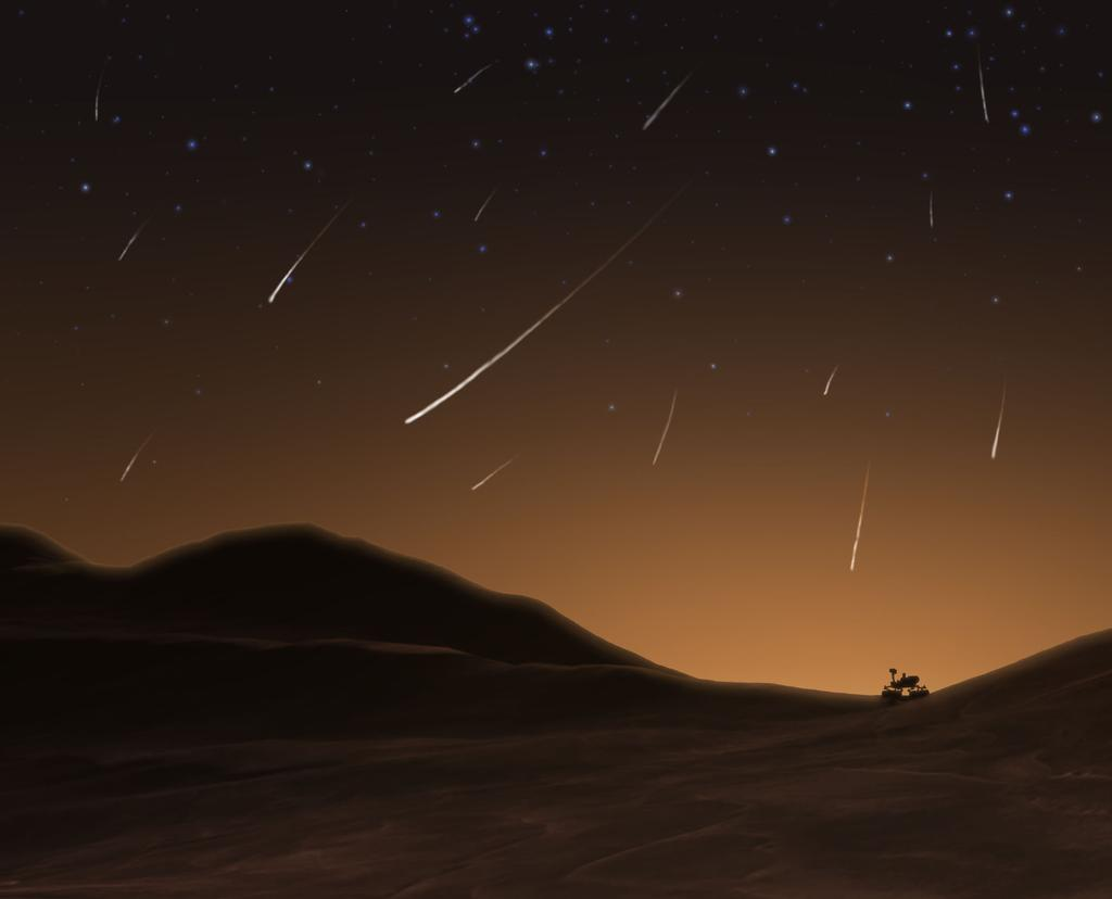 Artist S Concept Of Meteor Shower Above Curiosity Rover