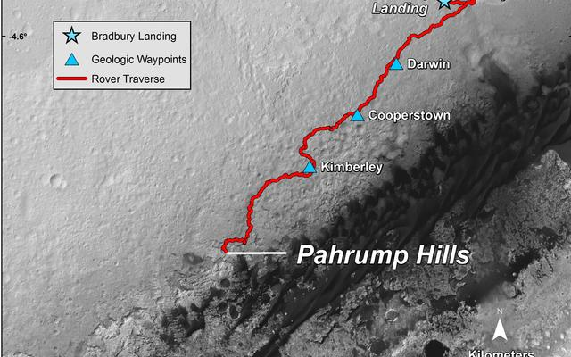 Curiosity Mars Rover's Route from Landing to 'Pahrump Hills'