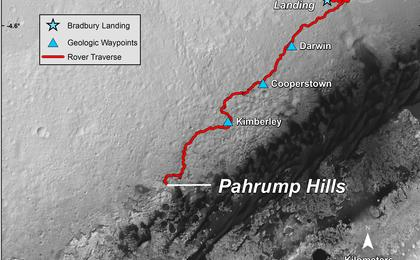 see the image 'Curiosity Mars Rover's Route from Landing to 'Pahrump Hills''