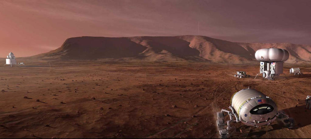 This artist's concept shows a Mars outpost with vehicles astronauts would use to get around.