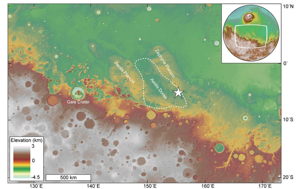 Overview map showing the location of the study area within Aeolis Dorsa (star).