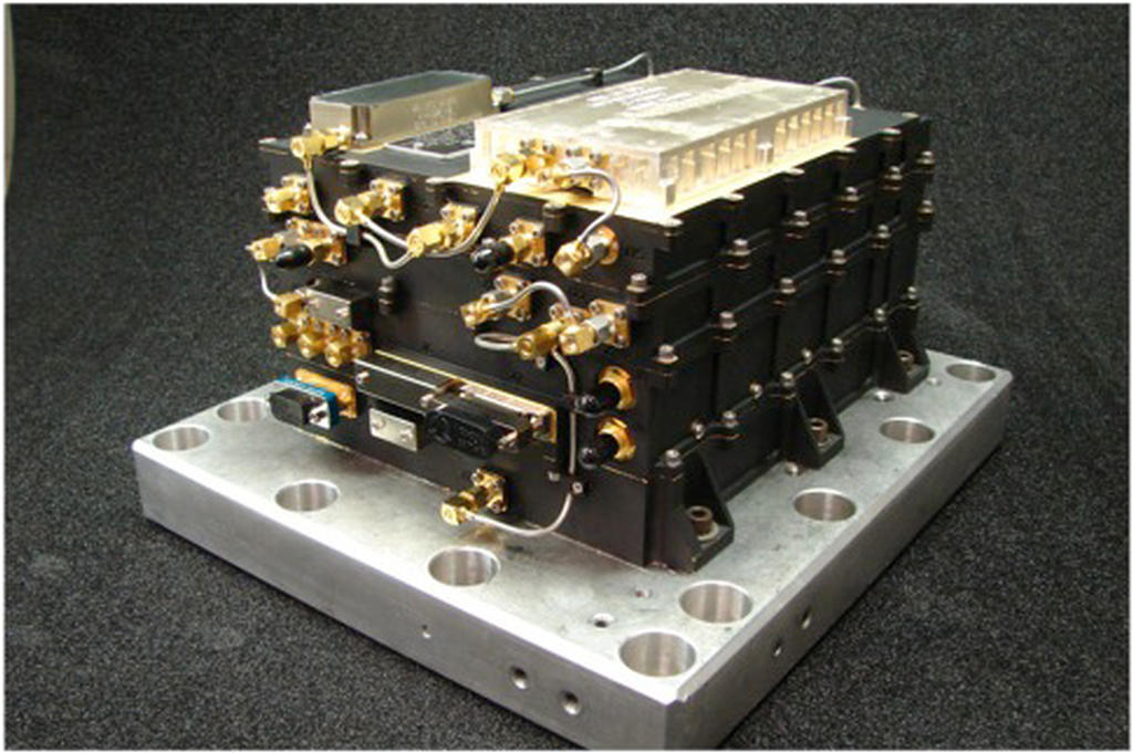 The MAVEN Electra UHF Transceiver Flight Model is shown here.