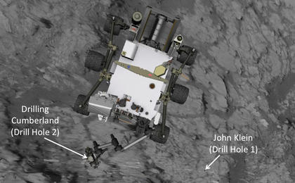 see the image 'Position of Curiosity for Drilling at 'Cumberland' (Annotated)'
