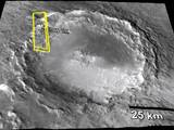 This figure shows how the imaged area fits into a larger view of Mojave Crater.