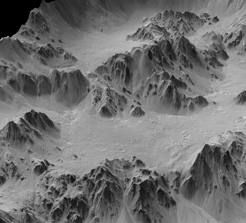 A digital terrain model generated from a stereo pair of images provides this synthesized, oblique view of a portion of the wall terraces of Mojave Crater in the Xanthe Terra region of Mars.