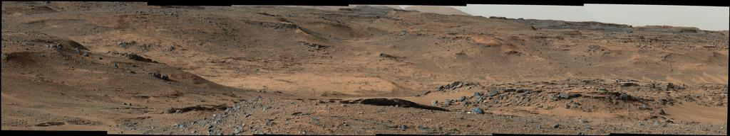 "This image from NASA's Mars Curiosity rover shows the ""Amargosa Valley,"" on the slopes leading up to Mount Sharp on Mars."