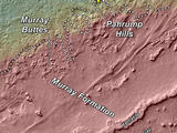 This topography map shows a portion of the Gale Crater region on Mars, where NASA's Mars Curiosity rover landed on August 6, 2012.