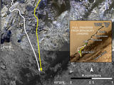 "This image shows a base map of Mount Sharp with the transition between the ""Murray Formation,"" with the rover's old path marked in white and the new path marked in yellow."