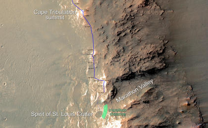 read the article 'Opportunity Rover Nears Mars Marathon Feat (Labeled)'