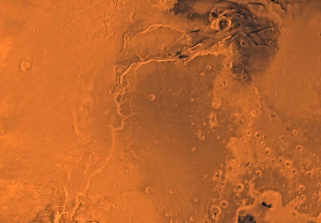 Mars digital-image mosaic merged with color of the MC-10 quadrangle, Lanae Palus region of Mars. The western part is dominated by lava flows of the Tharsis region. The central part includes ridged terrain of Lunae Planum. The west and north borders of Lunae Planum are dissected by the large, relatively young outflow channel, Kasei Vallis, which terminates in Chryse Planitia. Latitude range 0 to 30 degrees, longitude range 45 to 90 degrees.