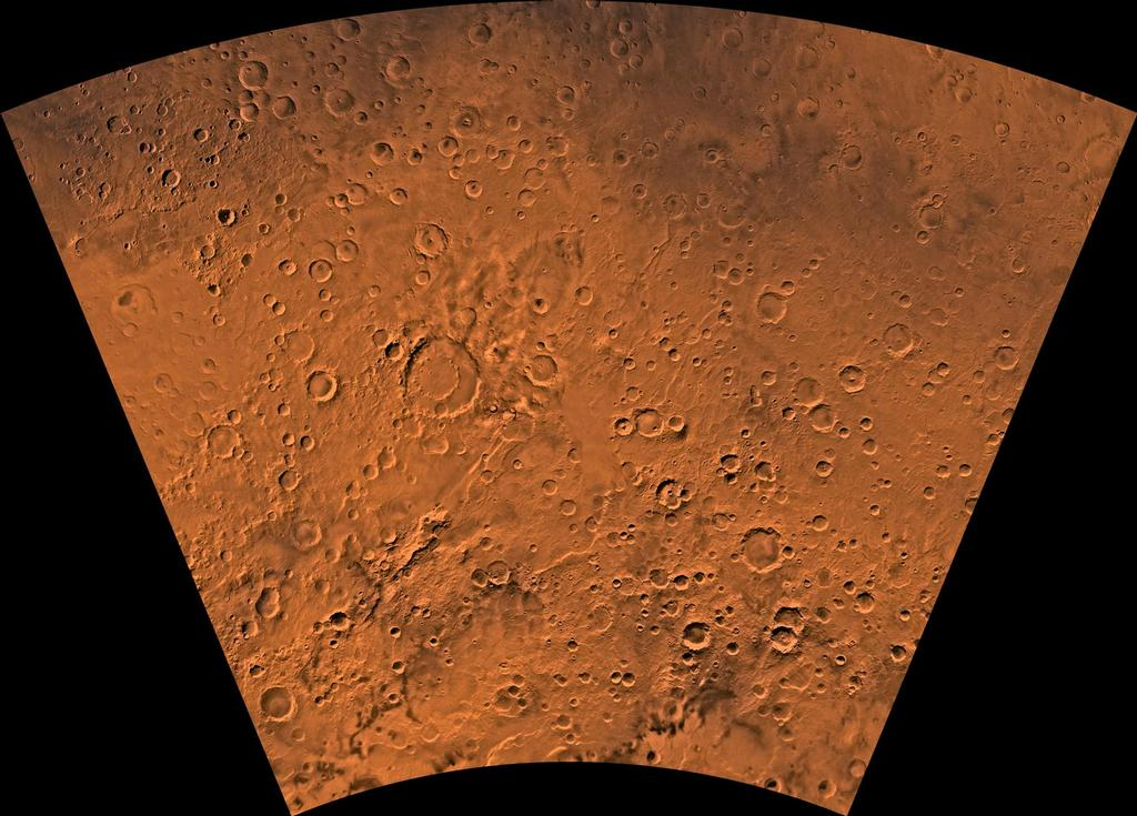 Mars digital-image mosaic merged with color of the MC-29 quadrangle, Eridania region of Mars. The quadrangle is dominated by heavily cratered highlands, with some moderately cratered plains in the central part and large ridge systems in the southern part. The west-central part is marked by a large impact crater, Kepler. Kepler is an ancient remnant of the many large impact events that occurred during the period of heavy bombardment.