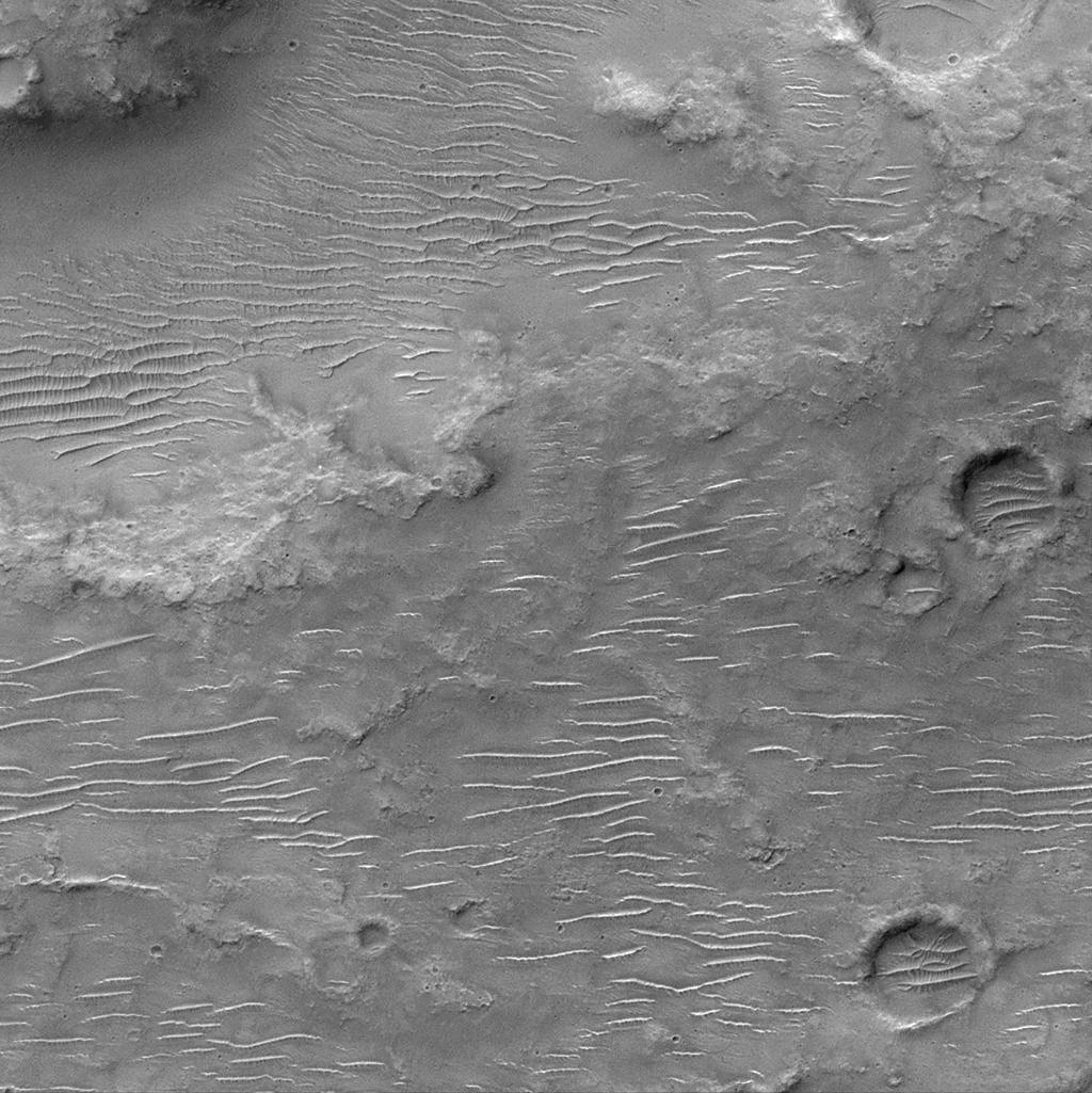 This is a Mars Orbiter Camera view of the cratered uplands located between the Amenthes Fossae and Hesperia Planum. This ancient, cratered surface sports a covering of windblown dunes and ripples oriented in somewhat different directions. The dunes are bigger and their crests generally run east-west across the image. The ripples are smaller and their crests run in a more north-south direction. The pattern they create together makes some of the dunes almost appear as if they are giant millipedes! This picture covers an area only 3 kilometers (1.9 miles) wide. Illumination is from the top.