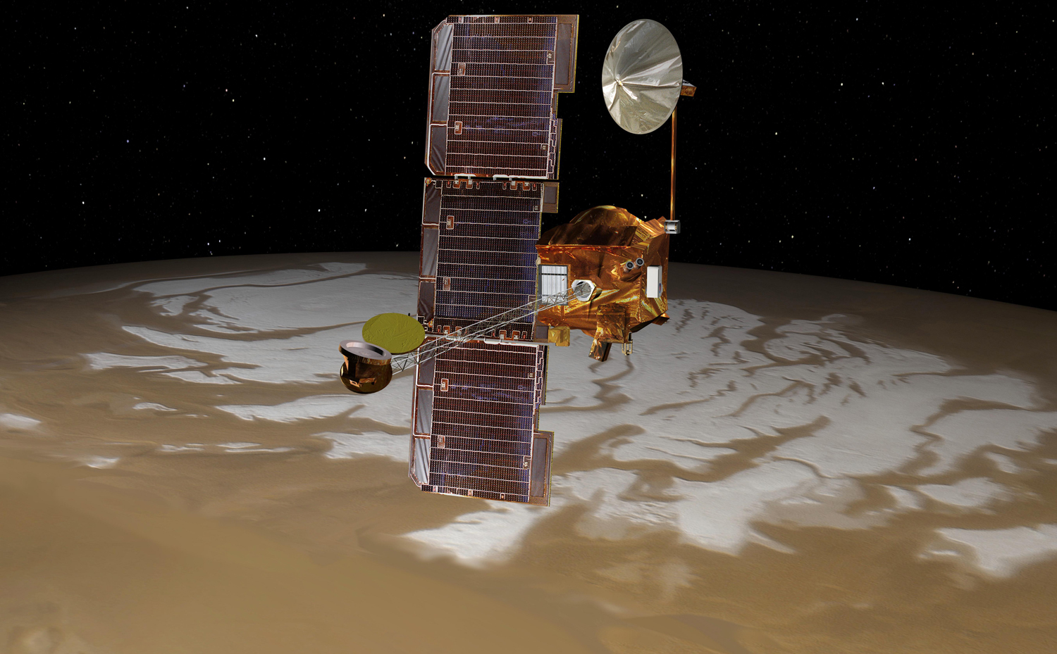 Odyssey over Mars' South Pole