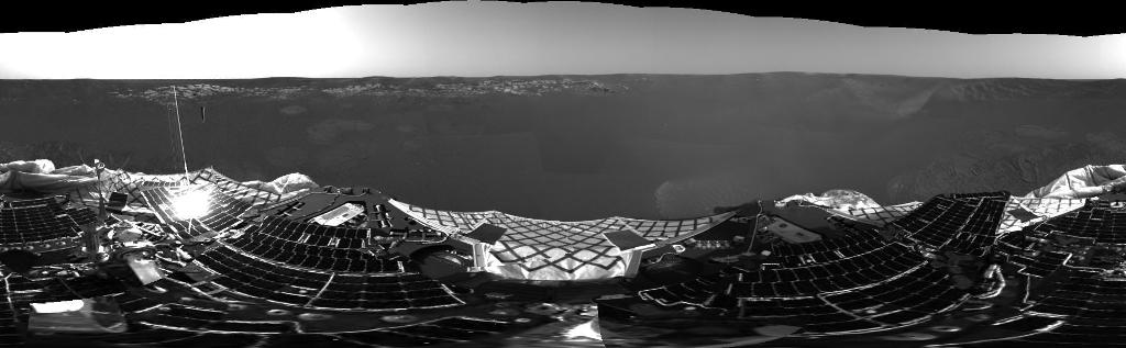 This 360-degree panorama is one of the first images beamed back to Earth from the Mars Exploration Rover Opportunity shortly after it touched down at Meridiani Planum, Mars. The image was captured by the rover's navigation camera.