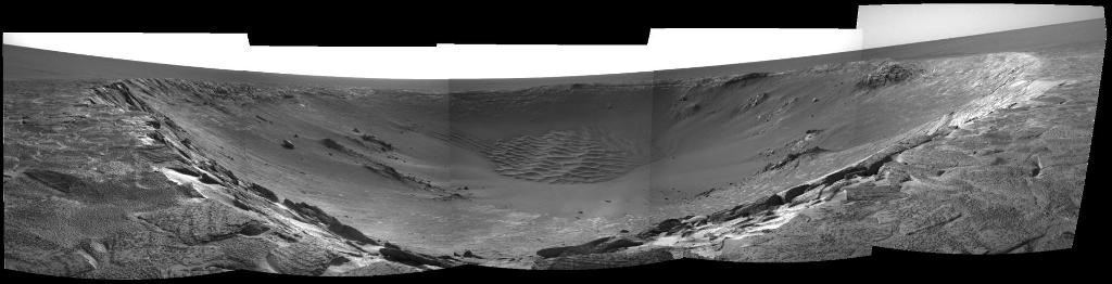 At Endurance Crater, Opportunity found rock layers that had been soaked in water.