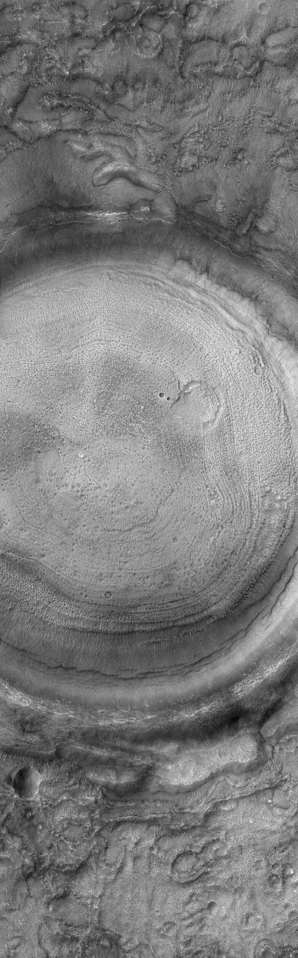 This Mars Global Surveyor (MGS) Mars Orbiter Camera (MOC) image shows the interior of a typical crater in northern Acidalia Planitia. The floor is covered by material that forms an almost concentric pattern. In this case, the semi-concentric rings might be an expression of eroded layered material, although this interpretation is uncertain. The crater is located near 44.0°N, 27.7°W, and covers an area about 3 km (1.9 mi) wide. Sunlight illuminates the scene from the lower left.