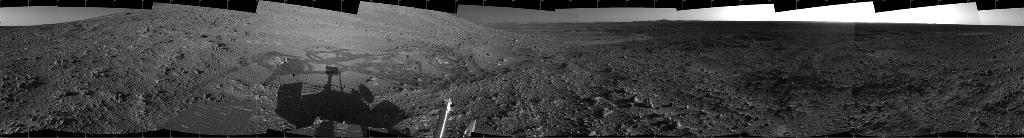 "This 360-degree view from a site dubbed ""Engineering Flats"" shows the rover's shadow."