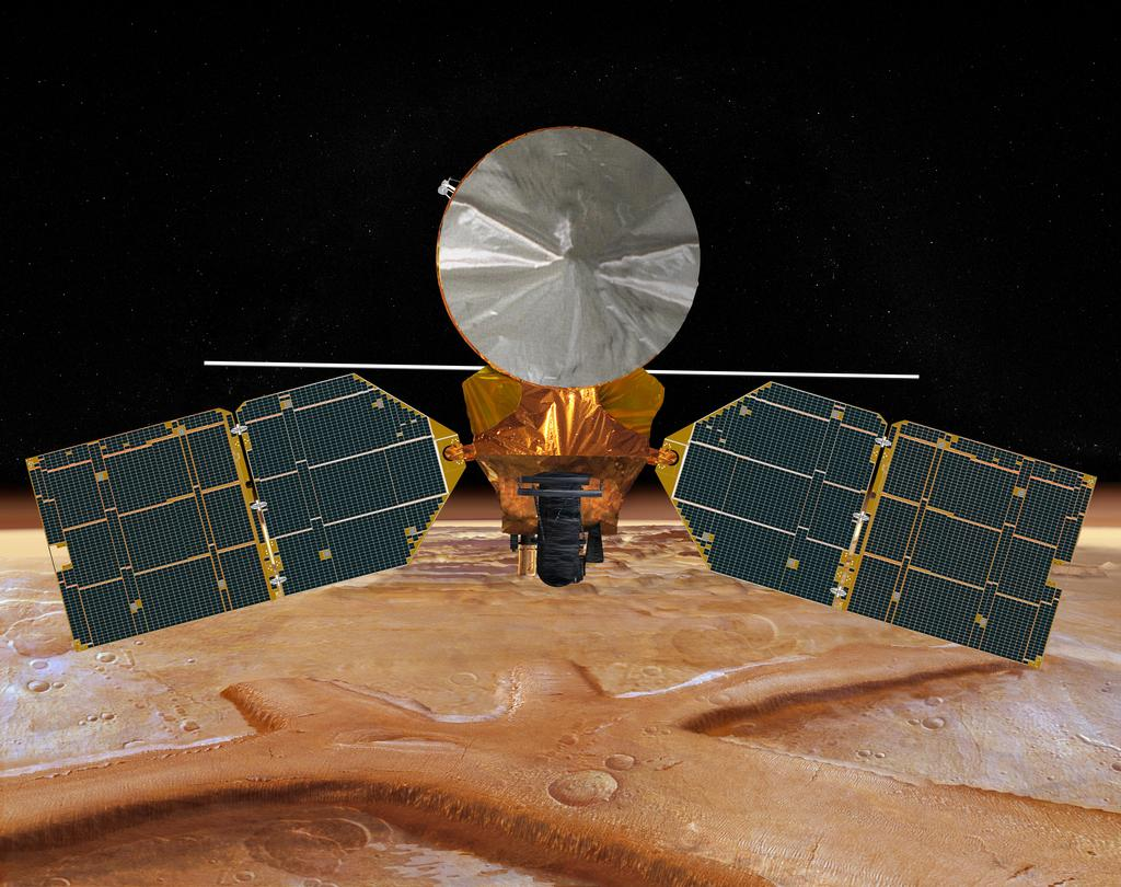 This artist's concept of the Mars Reconnaissance Orbiter features the spacecraft's main bus facing down, toward the red planet.
