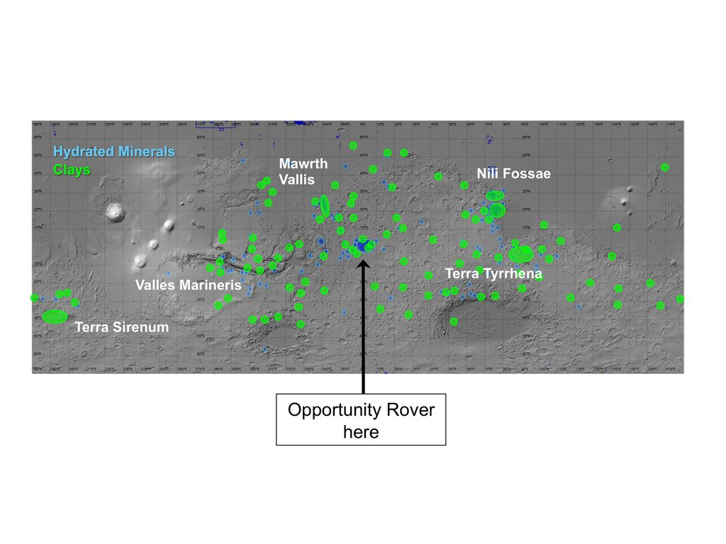 Regions of Mars with Clays and Hydrated Minerals Identified from Orbit