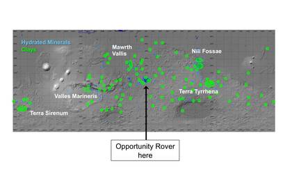 see the image 'Regions of Mars with Clays and Hydrated Minerals Identified from Orbit'