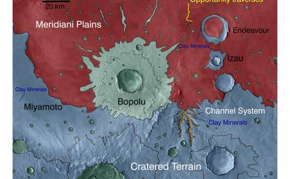 see the image 'Geologic Setting of Opportunity Traverse and Meridiani Planum'