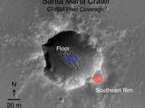 Orbital Observations of Crater on Mars Rover's Route - Figure 1 (Labeled)'