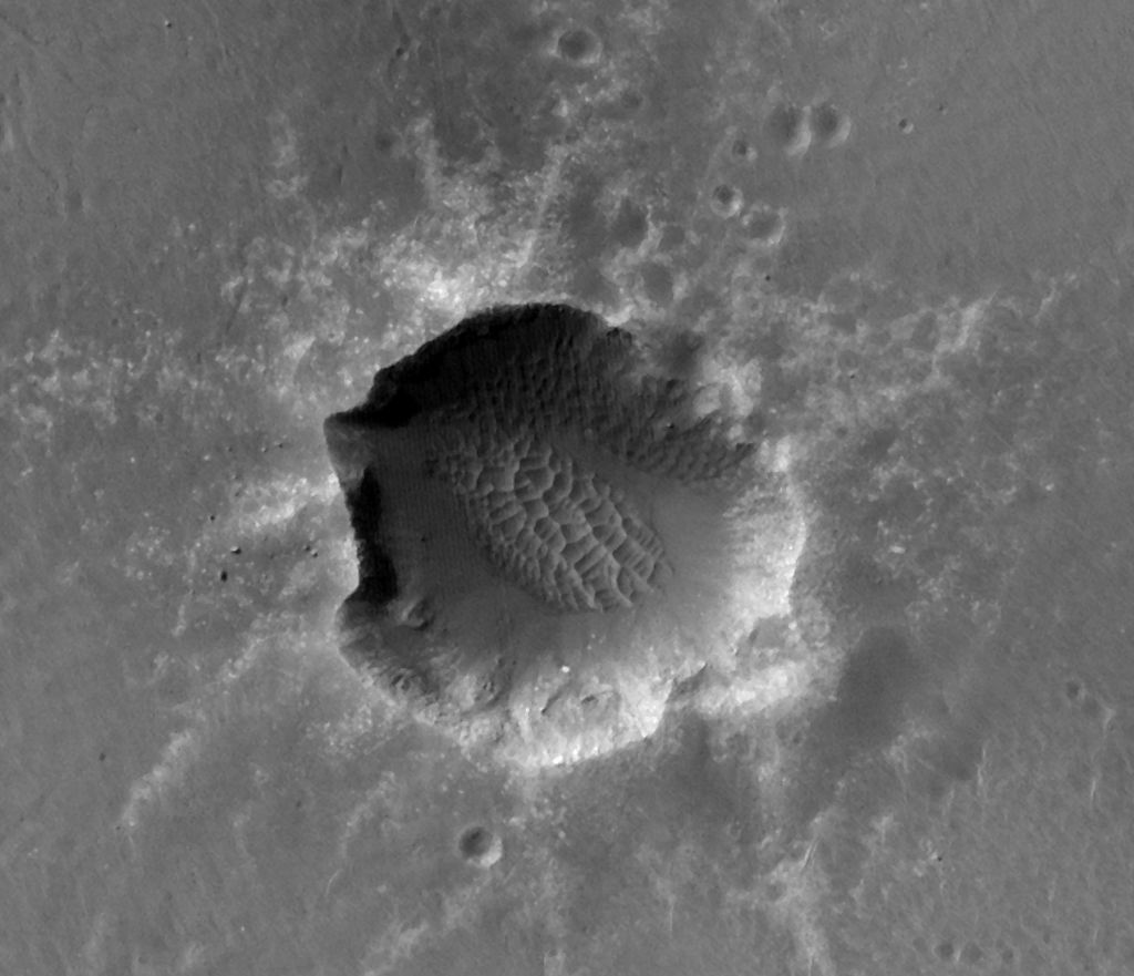 This image of Santa Maria Crater was taken by the High Resolution Imaging Science Experiment (HiRISE) camera on Mars Reconnaissance Orbiter.