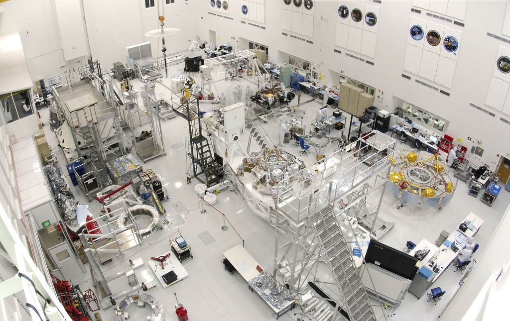This wide-angle view shows the High Bay 1 cleanroom inside the Spacecraft Assembly Facility at NASA's Jet Propulsion Laboratory, Pasadena, Calif.