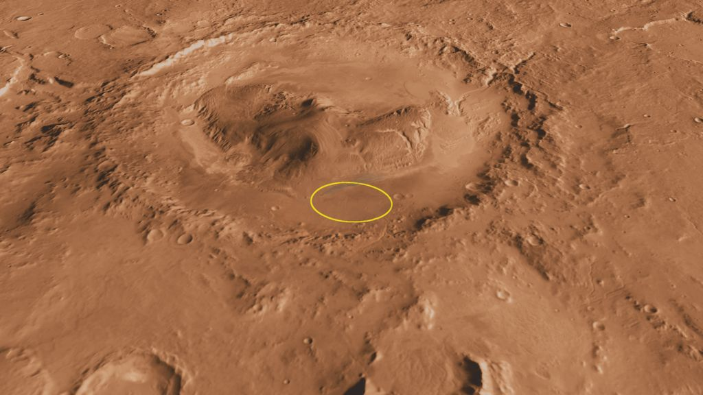 This oblique, southward-looking view of Gale crater shows the landing site and the mound of layered rocks that NASA's Mars Science Laboratory will investigate.