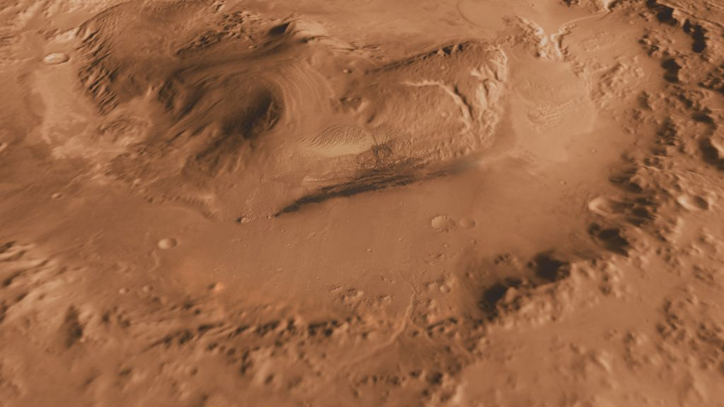 This oblique view of Gale crater shows the landing site and the mound of layered rocks that NASA's Mars Science Laboratory will investigate.