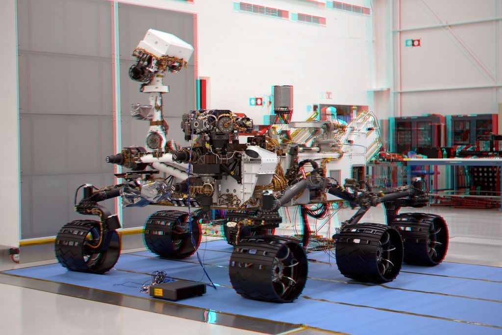 This stereoscopic anaglyph image was created from a left and right stereo pair of images of the Mars Science Laboratory mission's rover, Curiosity.