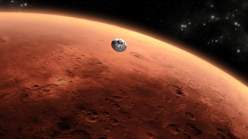 This is an artist's concept of NASA's Mars Science Laboratory spacecraft approaching Mars.