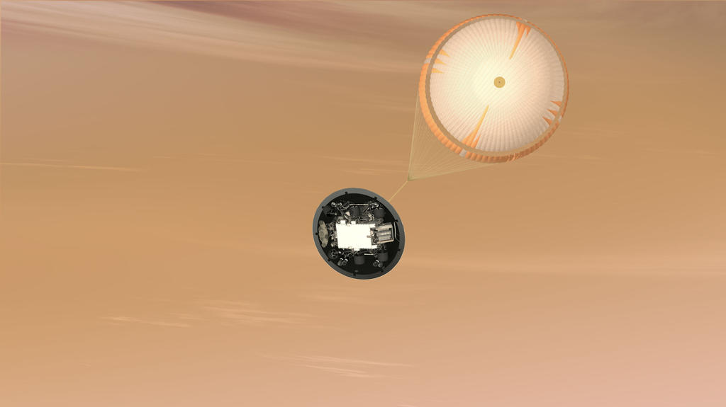 This is an artist's concept of the Mars Science Laboratory Curiosity rover parachute system.
