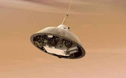 see the image 'Curiosity While on Parachute, Artist's Concept'