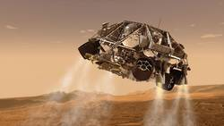 This is an artist's concept of the rover and descent stage for NASA's Mars Science Laboratory spacecraft during the final minute before the rover, Curiosity, touches down on the surface of Mars.