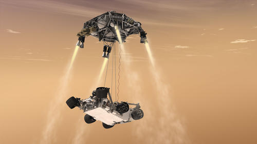 This artist's concept shows the sky crane maneuver during the descent of NASA's Curiosity rover to the Martian surface.