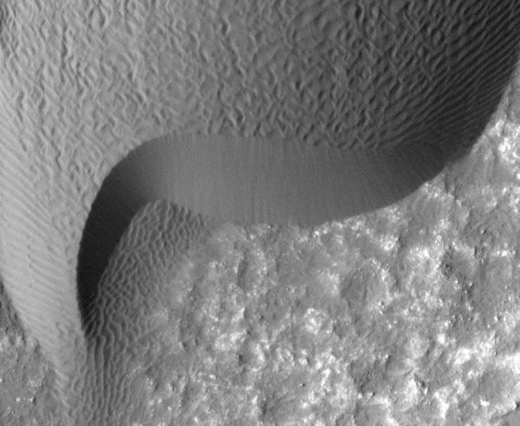 A rippled dune front in Herschel Crater on Mars moved an average of about two meters (about two yards) between March 3, 2007 and December 1, 2010, as seen in these images from NASA's Mars Reconnaissance Orbiter.