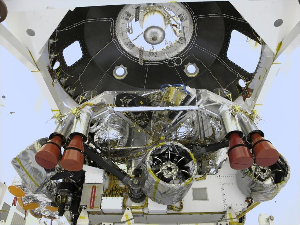 "The ""powered descent vehicle"" of NASA's Mars Science Laboratory spacecraft is being prepared for final integration into the spacecraft's back shell in this photograph from inside the Payload Hazardous Servicing Facility at NASA Kennedy Space Center, Fla. The powered descent vehicle combines the spacecraft's descent stage and the rover Curiosity."