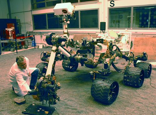 A NASA Mars Science Laboratory test rover called the Vehicle System Test Bed, or VSTB, serves as the closest double for Curiosity in evaluations of the mission's hardware and software.