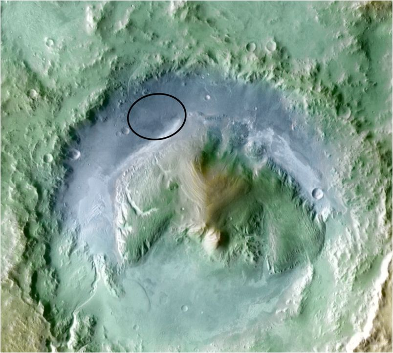Color coding in this image of Gale Crater on Mars represents differences in elevation, with blue relatively low and tan relatively high.