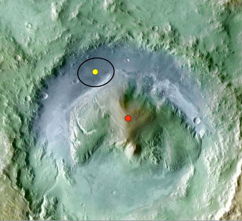 Color coding in this image of Gale Crater on Mars represents differences in elevation.