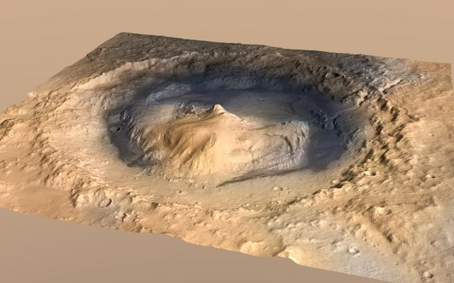 Oblique View of Gale Crater, Mars, with Vertical Exaggeration