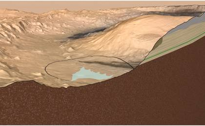 see the image 'Cross Section of Gale Crater, Mars'