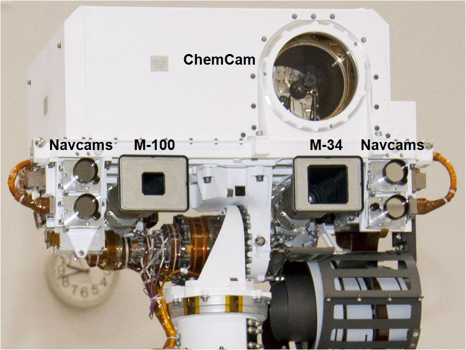 This view of the head of the remote sensing mast on the Mars Science Laboratory mission's rover, Curiosity, shows seven of the 17 cameras on the rover.